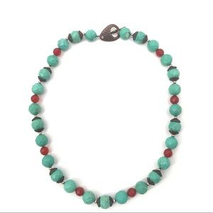Jewelry - Faceted Turquoise & Carnelian Beaded Necklace